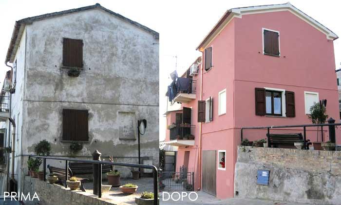 Prima e dopo imbiancatura facciata palazzina