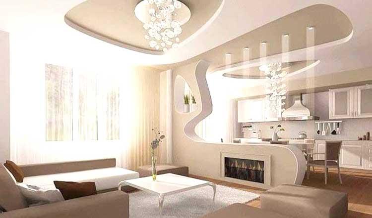 immagine di un soggiorno con controsoffitto in cartongesso