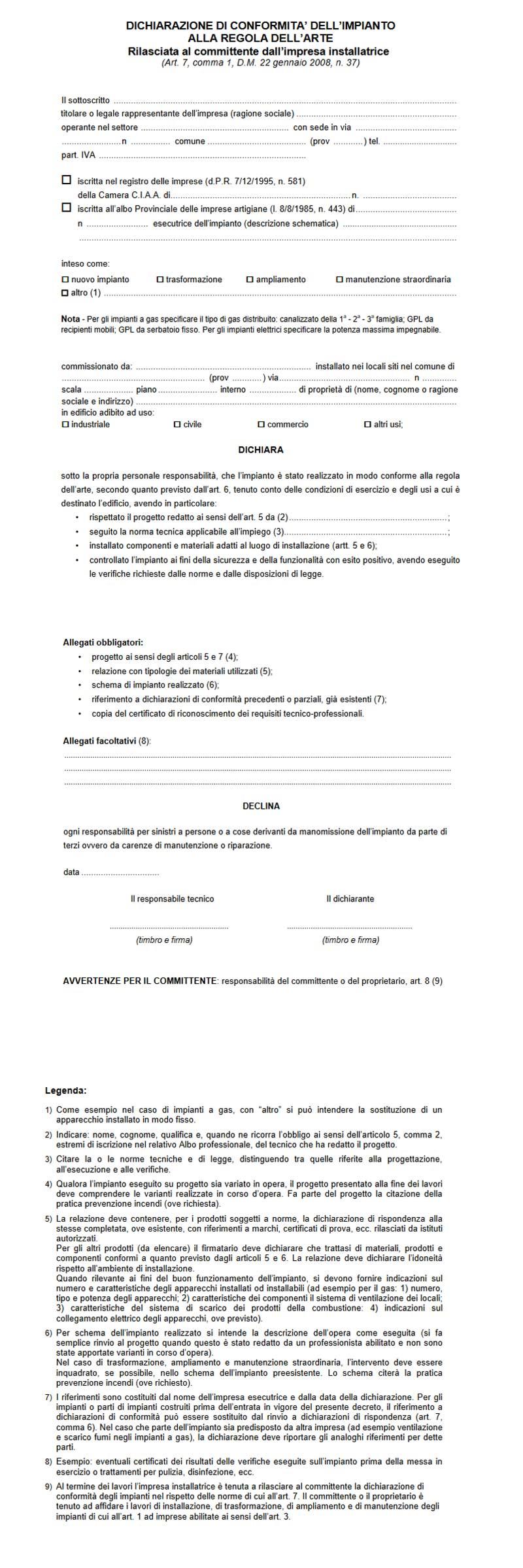 Modulo certificazione impianti elettrici