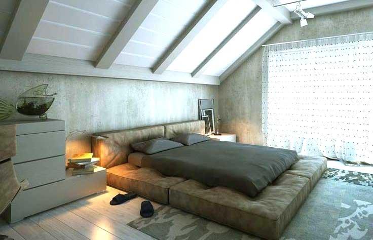Camera da letto moderna in un sottotetto