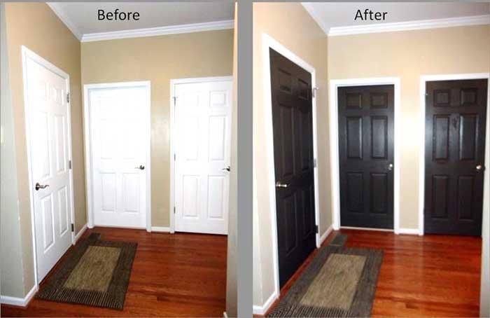 Porte interne prima e dopo ritinteggiatura