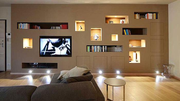 esempio di nicchia in cartongesso per soggiorno moderno