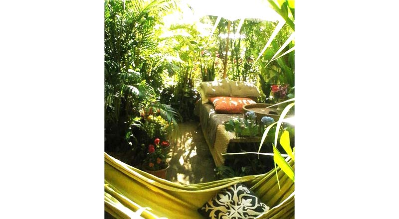 Terrazzo arredato con moltissime piante